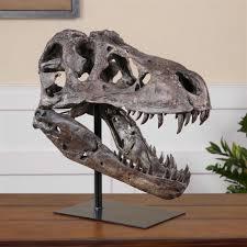 sue global bazaar brown metal tyrannosaurus skull sculpture