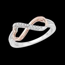 infinity diamond ring heart shaped infinity diamond ring in 10k two tone gold 0 05 cttw
