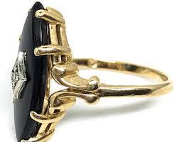diamond onyx ring etsy
