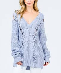 light blue cable knit sweater uniq usa light blue lace up cable knit sweater women zulily