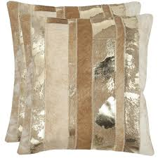 safavieh cowhide peyton 22 inch gold feather decorative