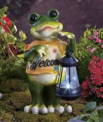 set of 5 decorative garden statues turtle squirrel frog snail