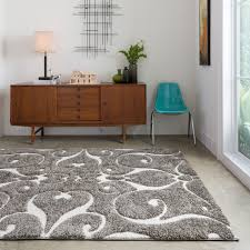 floor ivory shag rug design ideas with wooden console table plus