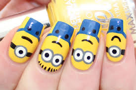 minions despicable me nail art tutorial youtube