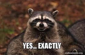 Exactly Meme - yes exactly evil plotting raccoon make a meme