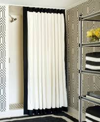 white and black creative shower curtain for contemporary bathroom