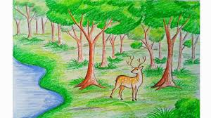 how to draw forest scene step by step very easy youtube