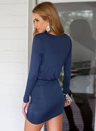 women u0027s wrap v neck long sleeve ruched bodycon dress roawe com