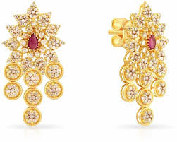 malabar diamond earrings malabar gold and diamonds era yellow gold 22kt stud earring price