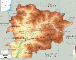 Pyrenees Mountains Map Physical Map Of Andorra Ezilon Maps