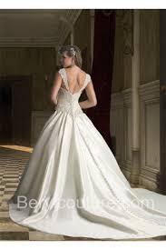 ball gown sweetheart drop waist ivory satin ruched wedding dress