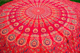 vintage 80s tapestry india cotton bedspread wall decor duvet cover
