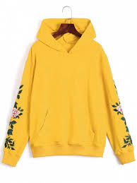 floral patched front pocket hoodie yellow sweatshirts m zaful