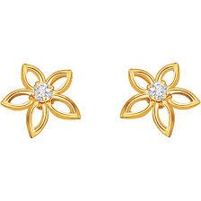 s gold earrings flower shape earrings diamond gold stud earring