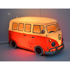 volkswagen red retro vw kombi table lamp red