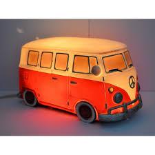 volkswagen red retro vw kombi table lamp red