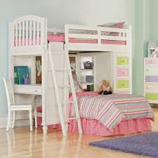 bunk bed with desk ikea faux brick accent walls white bedroom wall