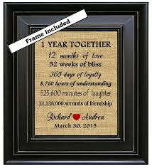 1st year anniversary gift ideas framed 1 year together 1st anniversary gift 1 year anniversary