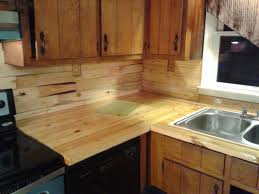 interior dark varnished walnut butcher block kitchen cabinet top butcher block