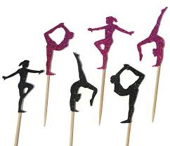 gymnastics cake toppers gymnastics silhouette cupcake toppers sports event party picks