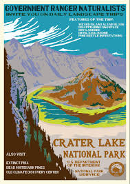 Crater Lake Oregon Map by Reimagined Iconic National Parks Poster Showcases Crater Lake U0027s
