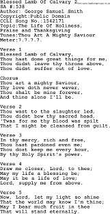 Army Thanksgiving Leave Salvation Army Hymnal Song Blessed Lamb Of Calvary 2 With Lyrics