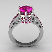 Pink Wedding Rings by Black And Pink Wedding Rings Etsy E4jewelry Com
