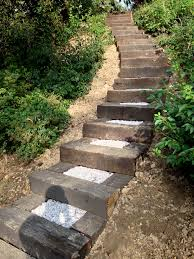 i like these railroad ties landscaping steps this is probably