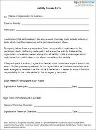 liability waiver forms liability release for events release form