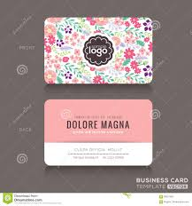 cute floral pattern business card name card design illustration