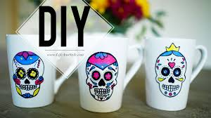 halloween coffee mugs diy painted sugar skull mug ann le youtube