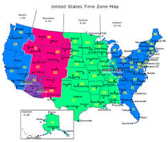 map showing time zones in usa us map showing time zones