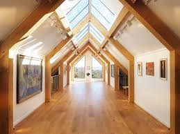 new oak framed gallery interior at tremenheere sculpture gardens