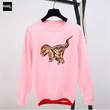 knitting pattern dinosaur jumper 2018 autumn new fashion sweater female pullovers dinosaur sequins