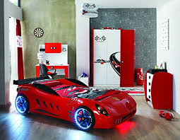 Ferrari Bed Childrens Red Ferrari Shark Racing Supercar Twin Bed With Led