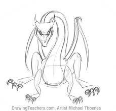 draw dragon sitting