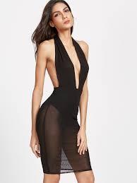 plunge dress plunge halter neck backless mesh bodysuit dress shein sheinside