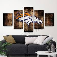 5 Panel Denver Broncos Flag Canvas Poster Oil Painting Art Home