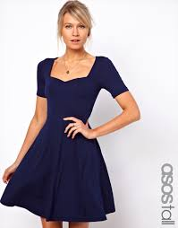asos skater dress with short sleeve and sweetheart neck in blue lyst