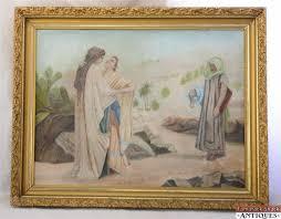 allegory woman jealous lovers signed ramer antique gouache