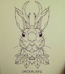 uncolored horned rabbit portrait with small leaves and acorn