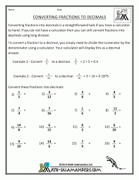 decimal fraction percent worksheets koogra