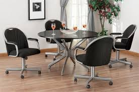 Leather Dining Chairs With Wheels Reliefworkersmassagecom - Dining room chairs with rollers