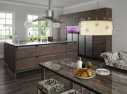 kitchen floating range hood and large island design feat rustic