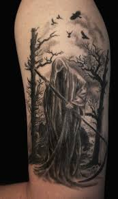 attractive black and white death angel on mystic background tattoo
