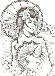 japanese designs to draw geisha designs and drawings with