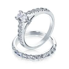 wedding ring set for pear shaped cz sterling silver engagement wedding ring set