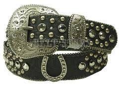 horseshoe ornaments leather belt w horseshoe ornaments hematite crystals