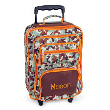 orange brown camo rolling luggage lillian vernon