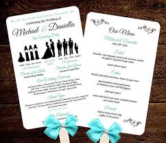 wedding fan program diy silhouette wedding fan program w menu printable editable